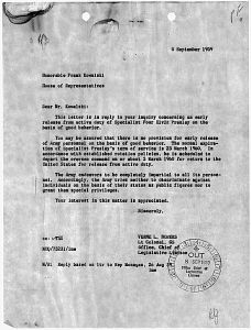WM ARMY 1959 letter to congress from Army rarerererre